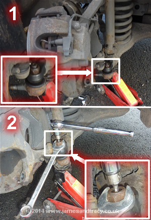 Removing a Mercedes E-Class front suspension lower ball joint for replacement or repairs