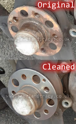 Why it is important to clean the brake disc spider when replacing discs  @ www.jamesandtracy.co.uk