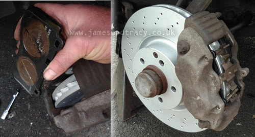 How to professionally fit new brake pads  @ www.jamesandtracy.co.uk