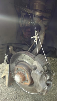 How to hang brake calipers so you can work on them safely  @ www.jamesandtracy.co.uk