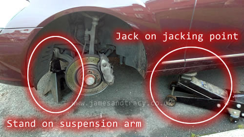 Jacking up and S Class safely @ www.jamesandtracy.co.uk