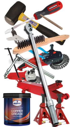 The tools and equipment you need to replace brake discs and pads  @ www.jamesandtracy.co.uk